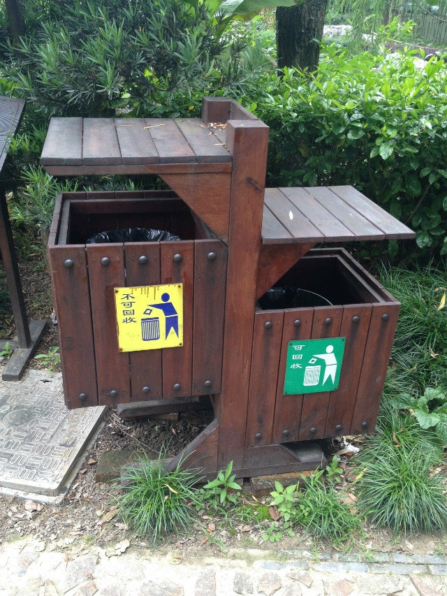 园林景观防腐木垃圾桶