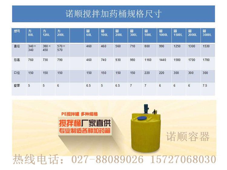 武汉PE加药桶|塑料加药桶|搅拌加药箱